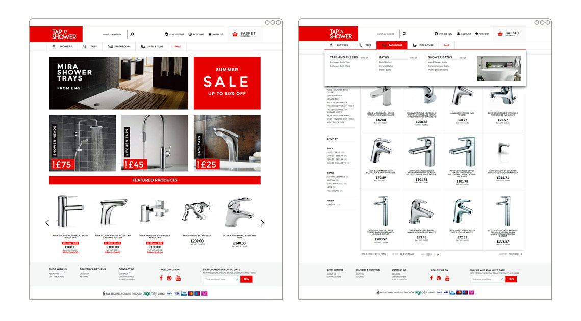 Tap'n'Shower | Magento eCommerce store