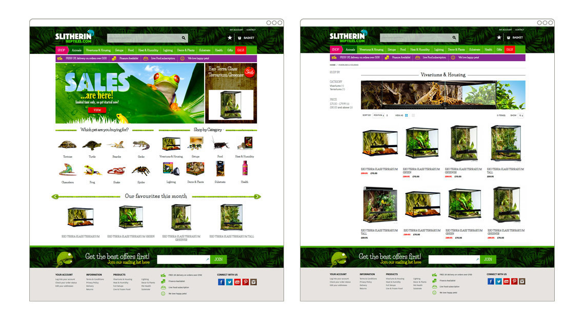 Slitherin Reptiles | Magento eCommerce store