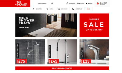 Our Work | Tap'N'Shower | Magento eCommerce